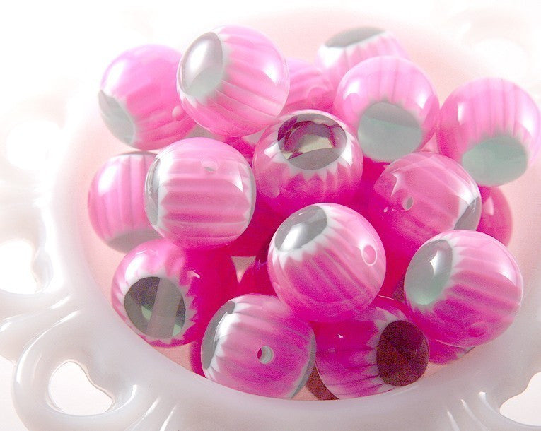 20mm Pink and Green Starburst Resin Beads - 12 pc set