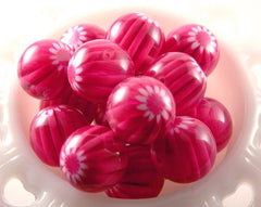 22mm Fuchsia Blossom Resin Beads – 6 pc set