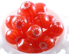 22mm Red Blossom Resin Beads – 6 pc set