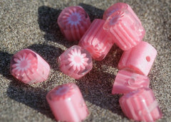 15mm Pink Floral Octagon Resin Beads - 10 pc set