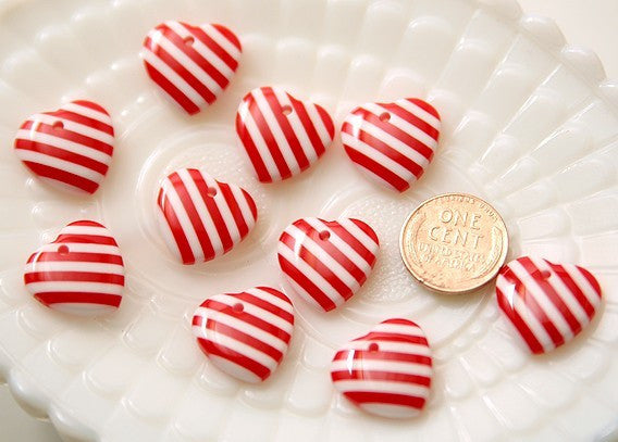 17mm Small Striped Heart Charms - 8 pc set