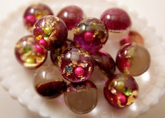 25mm Dark Fuchsia Pink Crystal Ball Resin Beads - 6 pc set