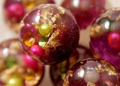 25mm Dark Fuchsia Pink Crystal Ball Resin Beads - 5 pc set