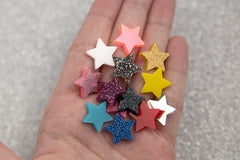 15mm Mini Stars Resin or Acrylic Cabochons - 20 pc set