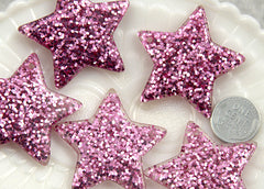 40mm Lavender Glitter Stars Resin Charms - 4 pc set