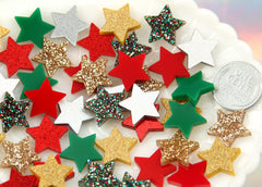 15mm Mini Stars Christmas Holiday Mix Resin or Acrylic Cabochons - 20 pc set