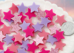 15mm Mini Stars Pink Mix Resin or Acrylic Cabochons - 20 pc set