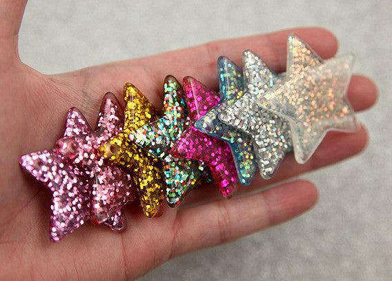 40mm Mixed Colors Set Glitter Stars Resin Charms - 7 pc set