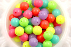 14mm Neon Gumball Bubblegum Resin Beads - 30 pc set