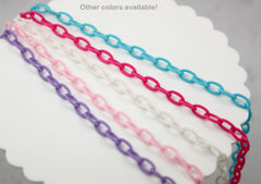 13mm White Acrylic or Plastic Chain - 16.5 inch length / 42 cm length - 3 pcs set