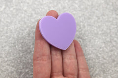 45mm Light Purple Heart Acrylic or Resin Cabochons - 4 pc set