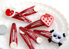 50mm Red Hair Clips - 12 pc set