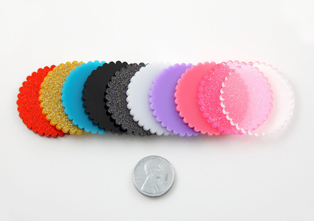 35mm Scalloped Circle Disk Acrylic or Resin Cabochon - 10 pc set
