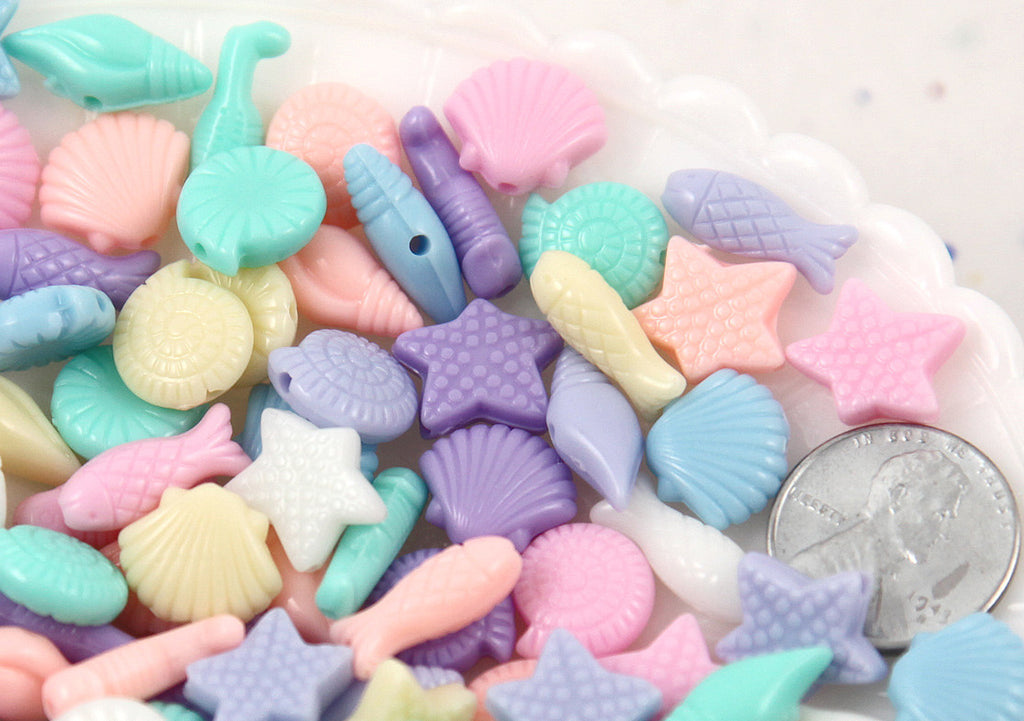 Seashore Mix Small Pastel Mermaid Acrylic or Resin Beads - Shell, Seahorse and Starfish - 150 pc set
