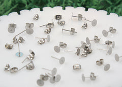 12mm Stainless Steel Stud Earring Posts with 6mm Glue Pads - 15 pairs set