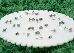12mm Stainless Steel Stud Earring Posts with 5mm Glue Pads and Loop for Hanging - 15 pairs set