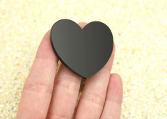 45mm Black Solid Color Heart Cabochons - 4 pc set