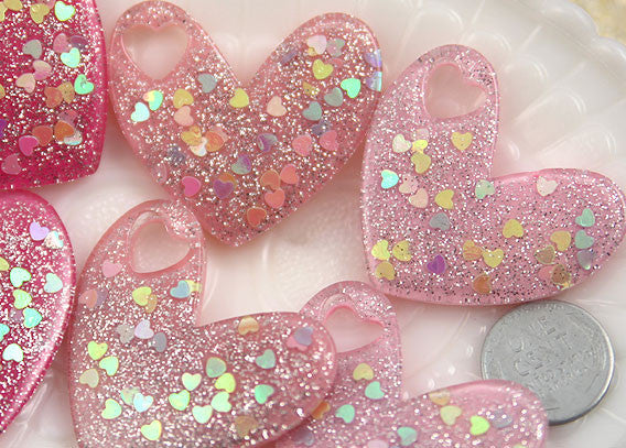 40mm Big Sparkly Heart Confetti Resin Kawaii Flatback Cabochons Charms or Pendants - 6 pc set