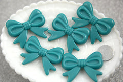 47mm Teal Blue Ribbon Resin Beads - 4 pc set