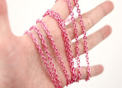 5mm Translucent Color Pink Chain - 10 feet / 3 meters