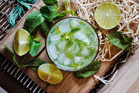 Delicious cold green tea cocktail