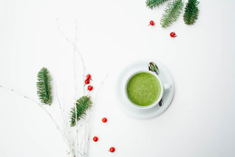 matcha, matcha latte, holiday, christmas, festive,