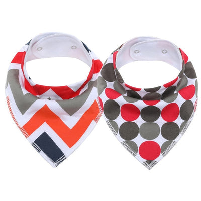 bavoir bandana lot de 2 orange et gris