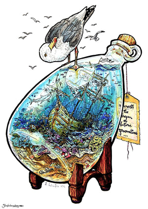 ship in a bottle in a miniature ocean world seagull sitting on top