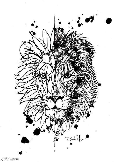 Mandala and sketch style lion