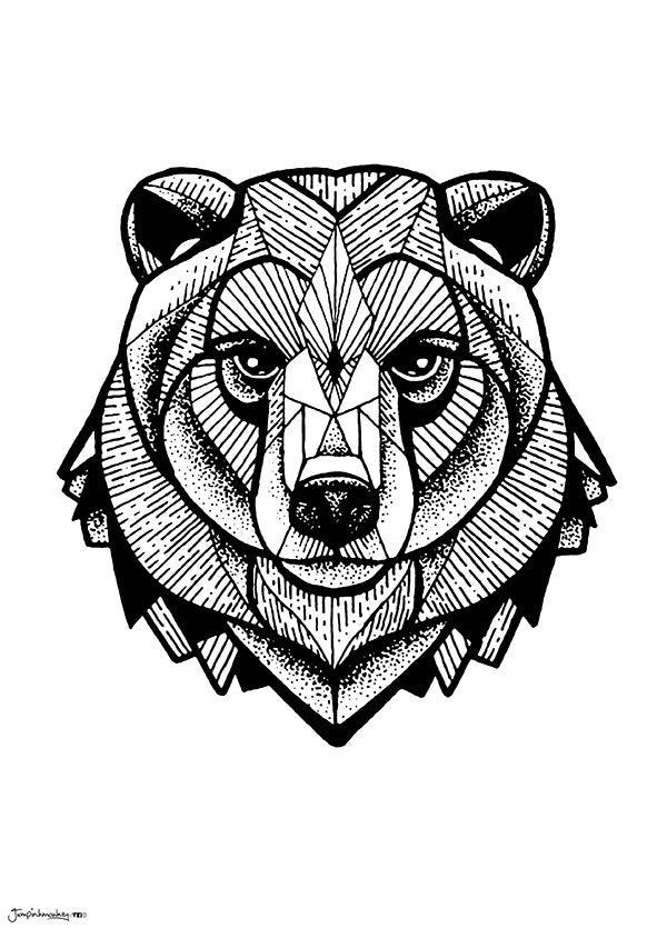 geometric bear with fine line work