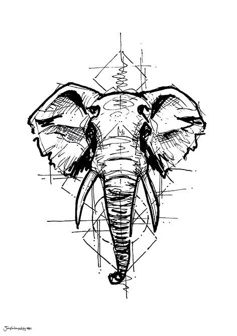 Elephant sketch black and white