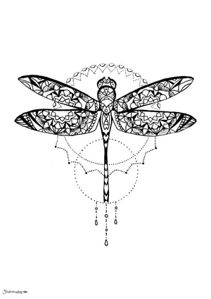 geometric theme dragonfly insect