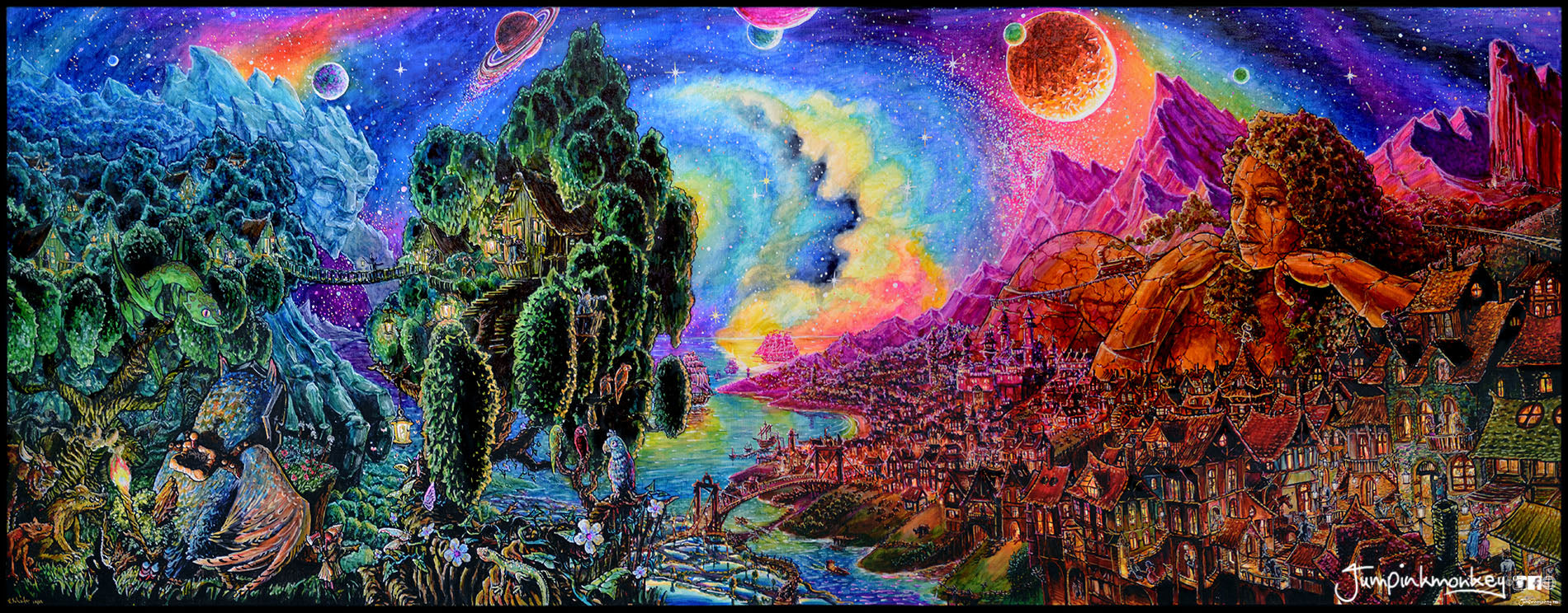 Colorful fantasy world with giants and magic creatures.