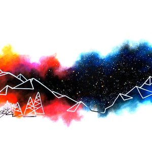 Mountain lines on colorful starry night