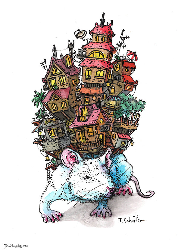 rat holding the world on his shoulders