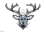 deer head geometric design black and white