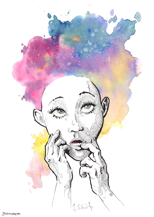 woman thinking with colorful watercolor splash hair