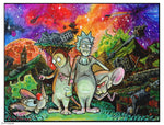 Rick & Morty and Pinky and the Brain fantasy painting