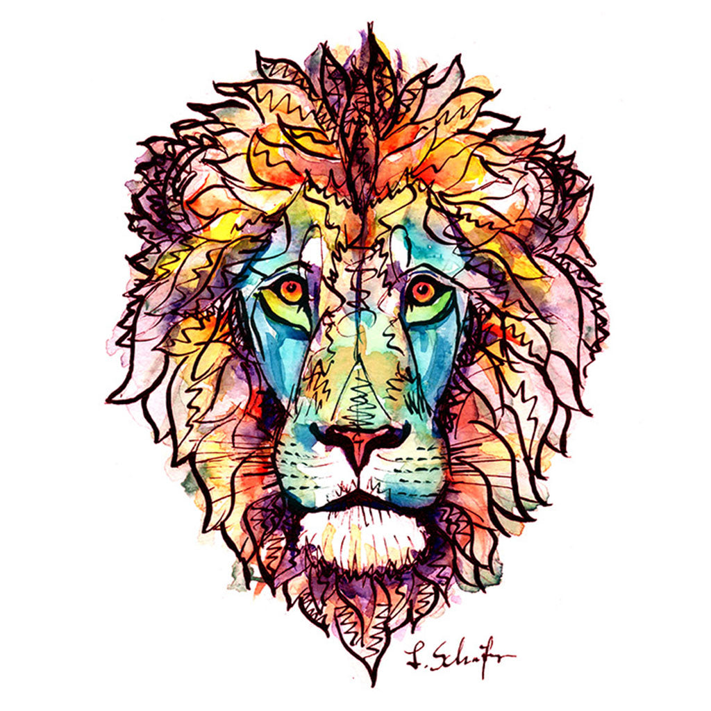 Red Lion watercolor and ink