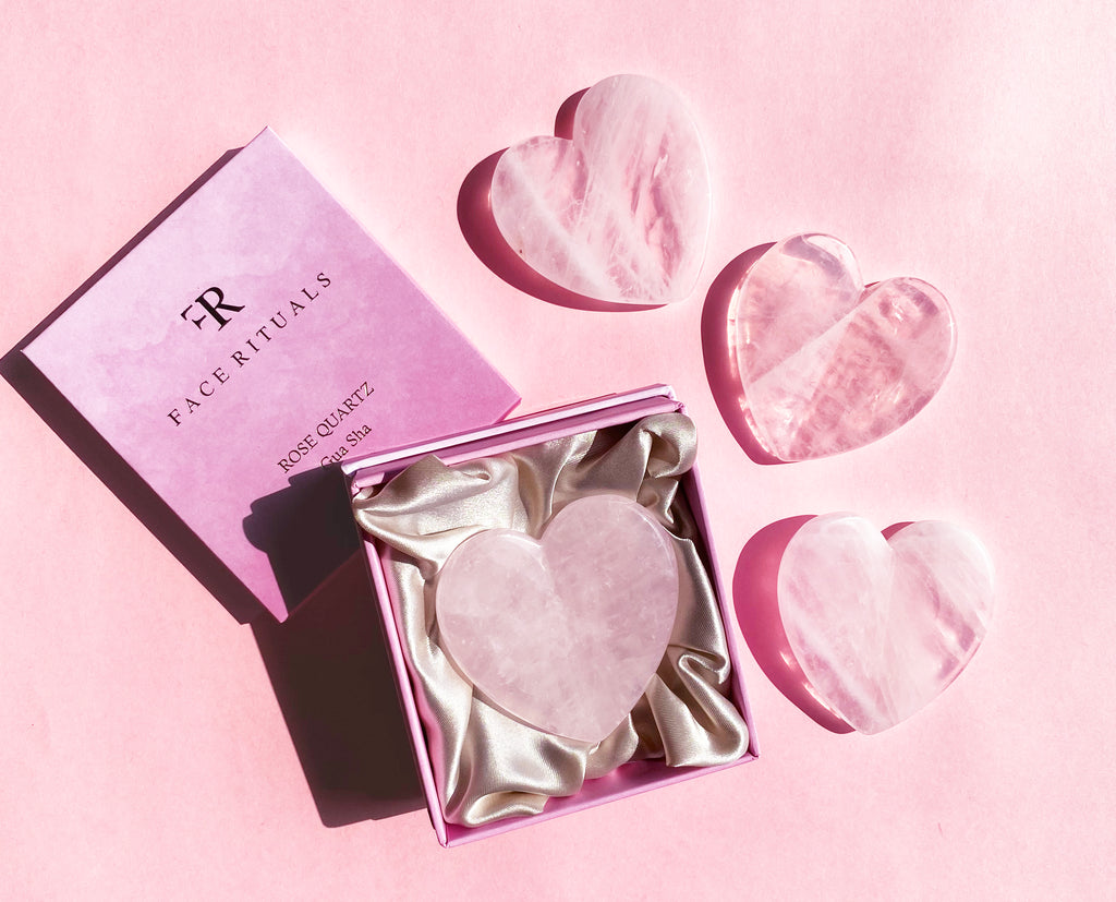Rose Quartz Heart Gua Sha
