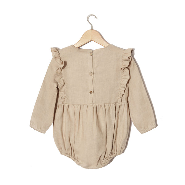 LONG SLEEVED ROMPER - NATURAL