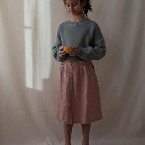 Monkind UK skirt Organic Sustainable Conscious dusty rose pink midi
