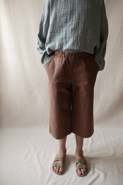 Monkind UK trousers culottes Organic Sustainable Conscious brown