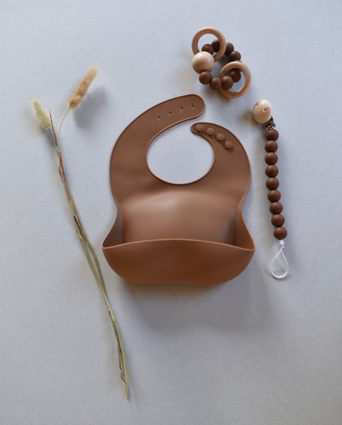 silicone baby bib brown uk sustainable conscious plastic free dove and dovelet