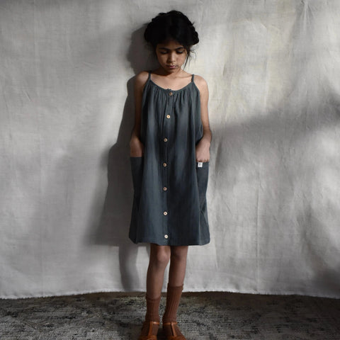 Matona uk organic cotton blue grey sustainable conscious oversized dress