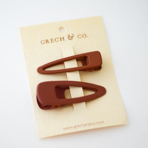 MATTE HAIR CLIPS - SET OF 2 - RUST