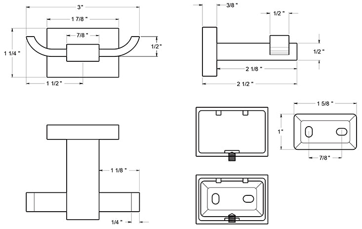 Deltana 55D2010 Double Robe Hook Dimensions