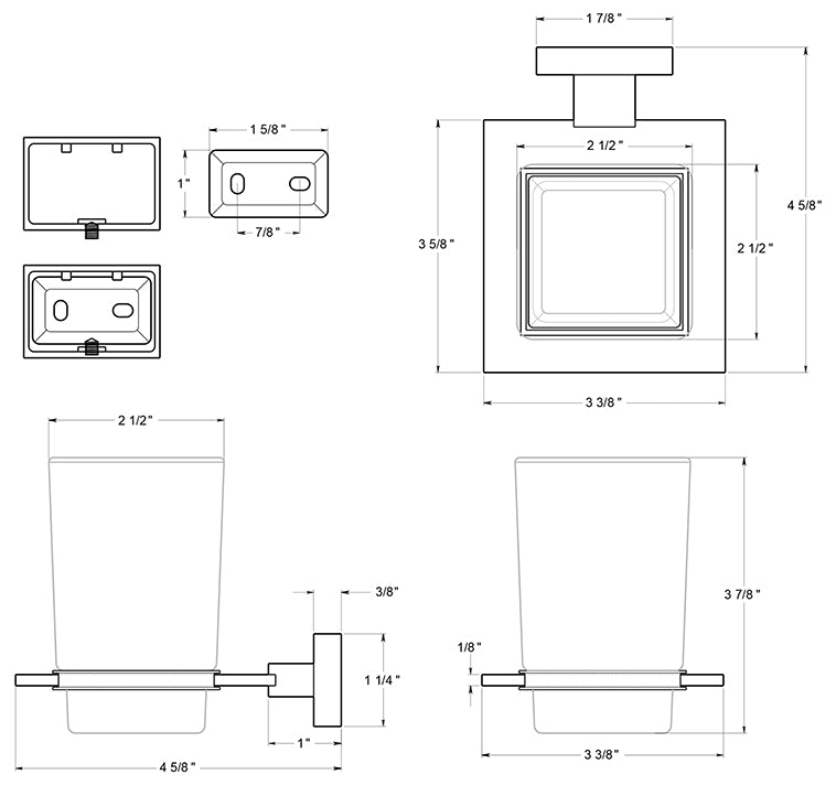 Deltana 55D2014 Frosted Glass Tumbler Set Dimensions