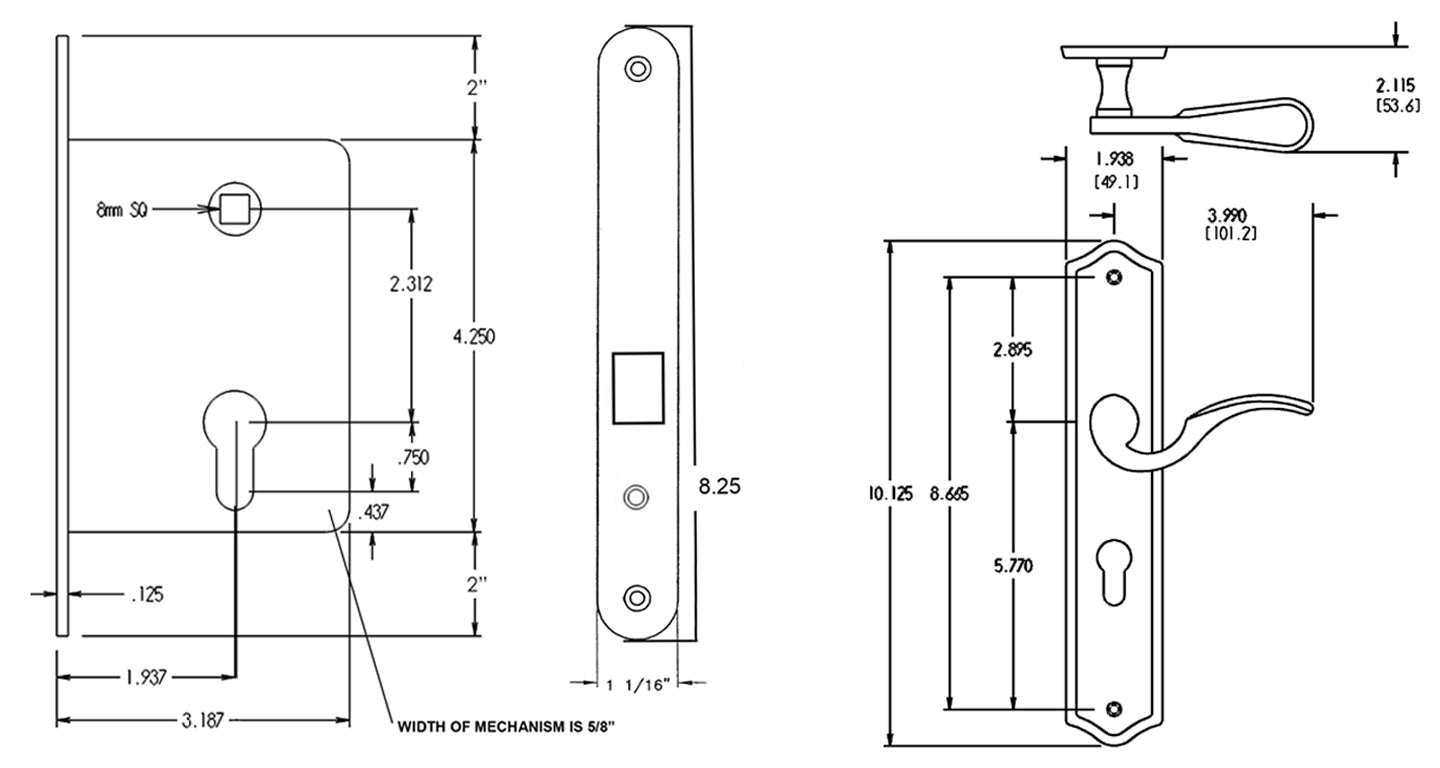 Traditional Sliding Lock Dimensions