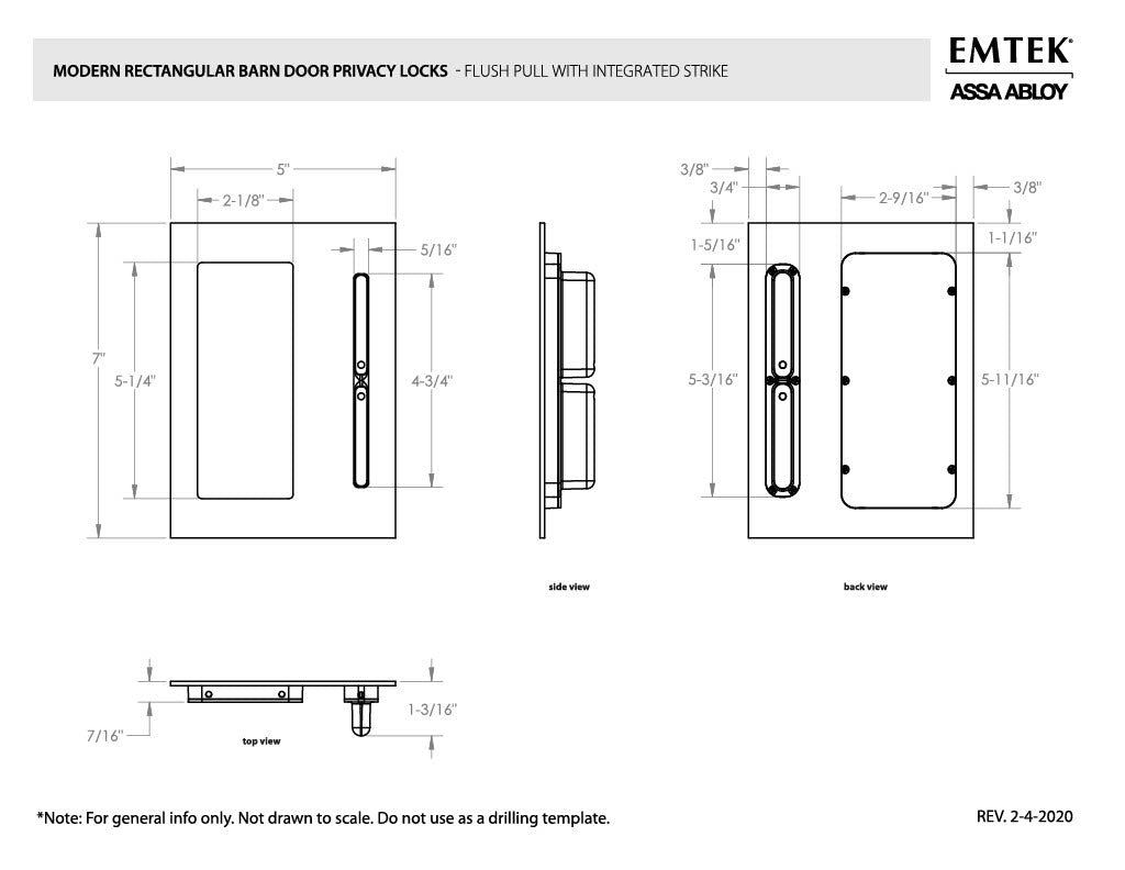 Emtek Barn Door Privacy Lock and Flush Pull with Integrated Strike Specs